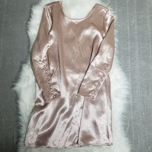 ZARA - rose gold metallic button dress